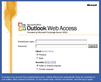 Select Private or Public to login to Outlook Web Access