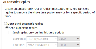 setting an Out of Office reply in OWA