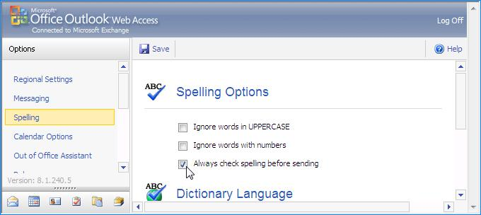 Configure OWA to always check spelling before sending a message